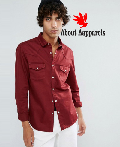 Skinny-Denim-Western-Shirt-In-Burgundy
