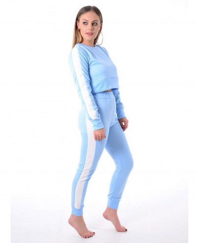 Sky-Blue--Striped-Top-&-Pants-Suit-Loungewear