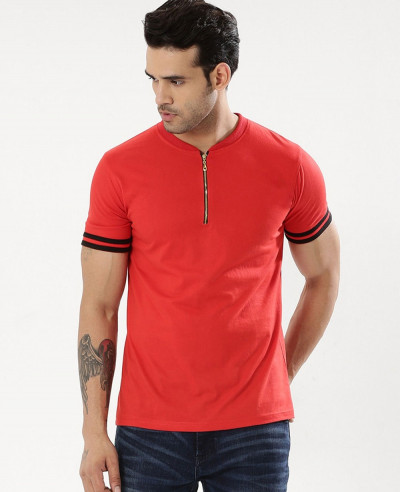 Striped-Sleeve-Polo-Shirt-With-Zip