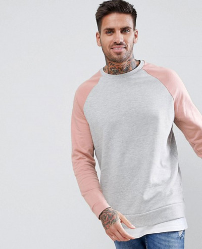 Sweatshirt-With-Hem-Extender-In-Pink-And-Grey-Marl