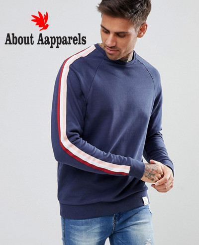 Sweatshirt-With-Side-Stripe-In-Navy