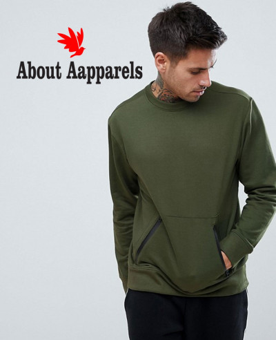 Sweatshirt-With-Zipper-Detail-In-Khaki