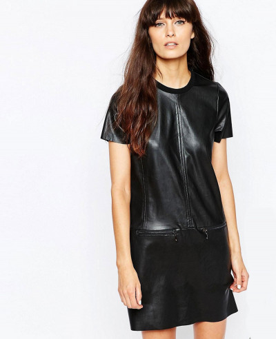 Tall-Faux-Leather-Shirt-Dress-With-Zipper-Detailing