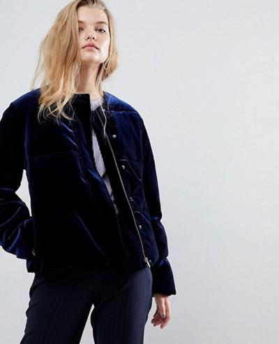 Velvet-Padded-Crop-Jacket