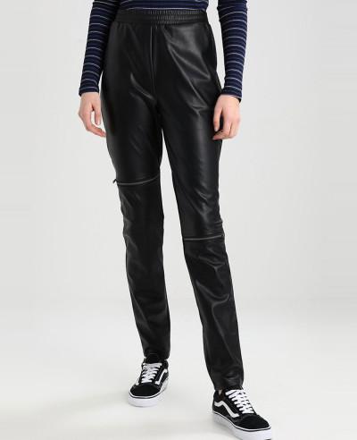 Women-Black-Leather-Biker-Moto-Pant
