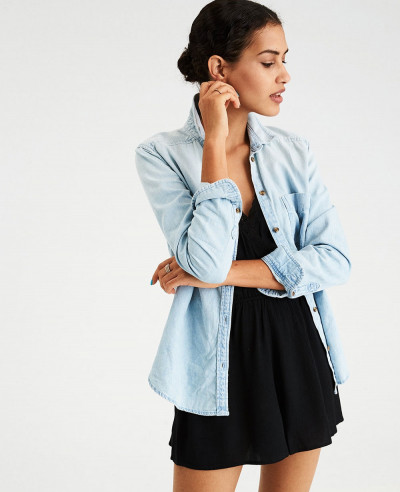 Women-Blue-Classic-Button-Down-Denim-Shirt
