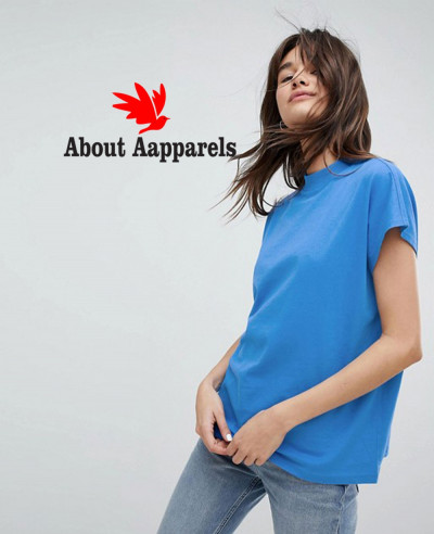 Women-Blue-High-Neck-T-Shirt