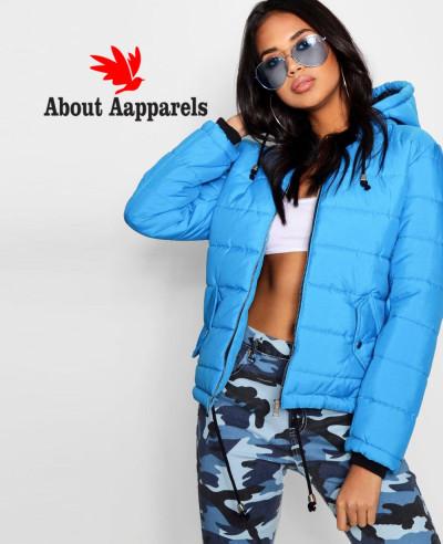 Women-Blue-Hooded-Padded-Coat
