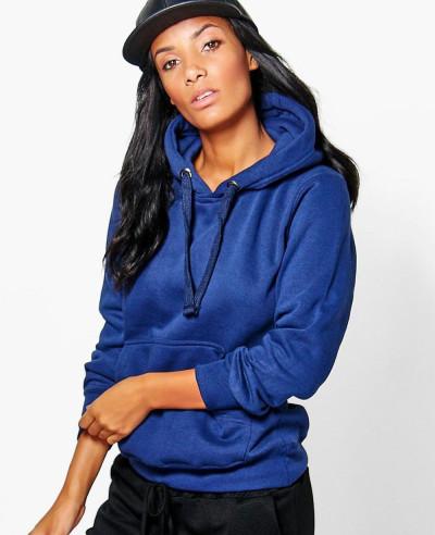 Women-Blue-Solid-Oversized-Hoody