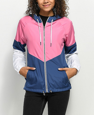 Women-Contrast-Colour-Blue-Pink-&-White-Coach-Windbreaker-Jacket
