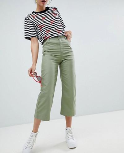 Women-Cropped-Wide-leg-Trousers-In-khaki