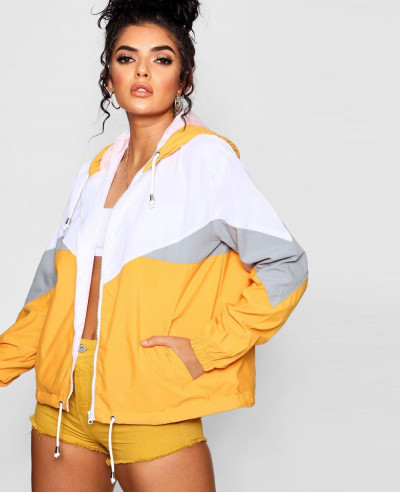 Women-Fashion-Hooded-Panelled-Windbreaker-Jacket