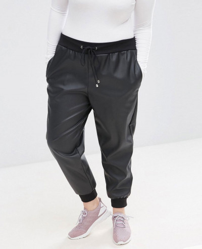 Women-Fashionable-Curve-Joggers-In-Leather-Look