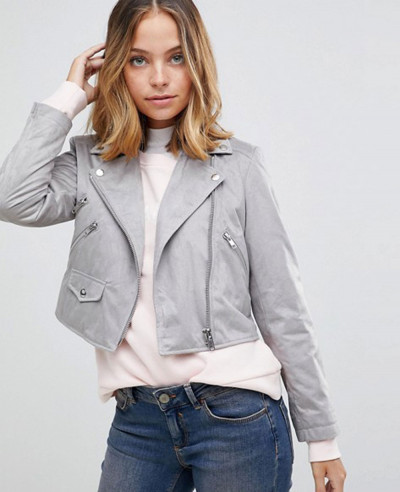 Women-Grey-Suedette-Biker-Jacket