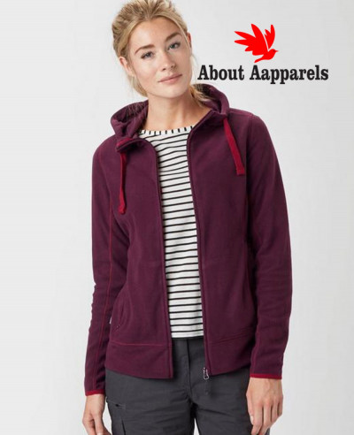 Women-Maroon-Full-Zip-Microfleece-Hooded-Fleece-Jacket