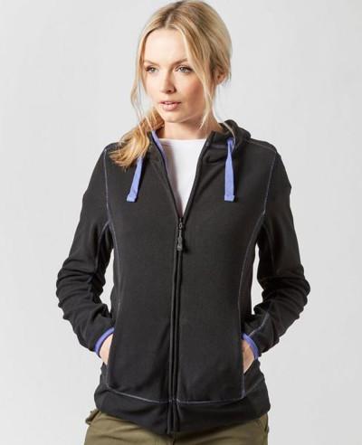 Women-Navy-Blue-Full-Zipper-Micro-Fleece-Hooded-Jacket