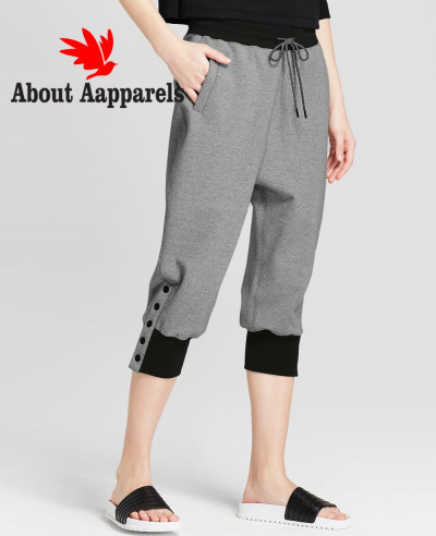 Women-Short-Snap-Drop-Crotch-Joggers-with-Pockets-Pant