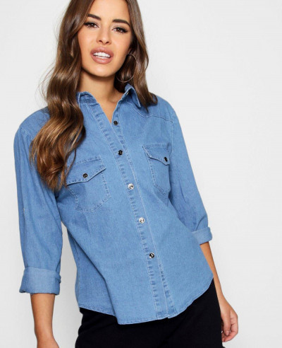 Women-Slim-Fit-Denim-Shirt