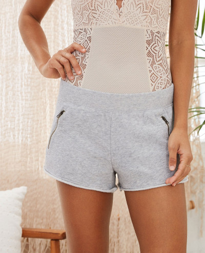 Women-White--Fleece-Zipper-Pocket-Fashion-Short