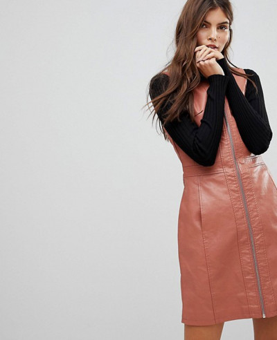 Zipper-Through-Faux-Leather-Dress