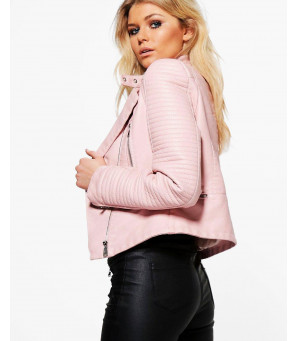 Quilted-Sleeve-Faux-Leather-Biker-Jacket