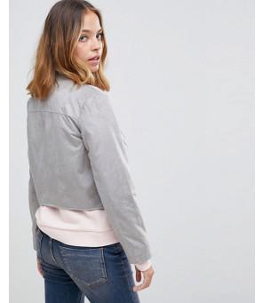 Women-Grey-Suedette-Biker-Jacket