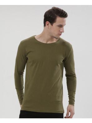 Men-Yellow-Long-Sleeve-Crew-Neck-Slim-Fit-T-Shirt-