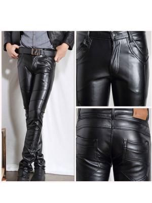 New-Men-Faux-Leather-Pants-Biker-Motorcycle-Tight-Pencil