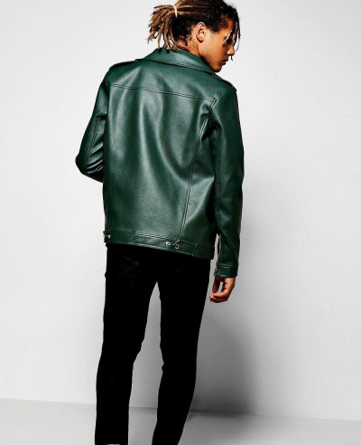 Asymmetric Faux Leather Green Biker Jacket