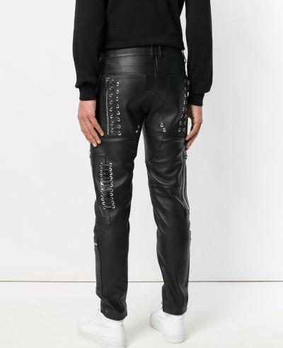 Biker Trouser Men Leather Denim Splices Skinny Pencil Punk Casual Zip Pant