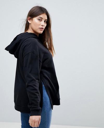 Black-Curve-Hoodie-With-Side-Split-Detail