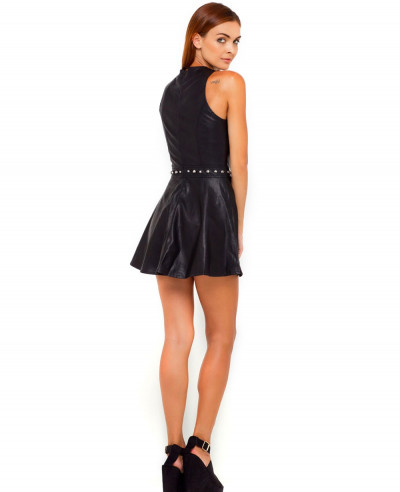 Black-Lambskin-Leather-Dress