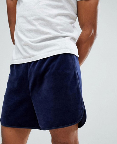 Black-Line-Velour-Shorts-In-Navy