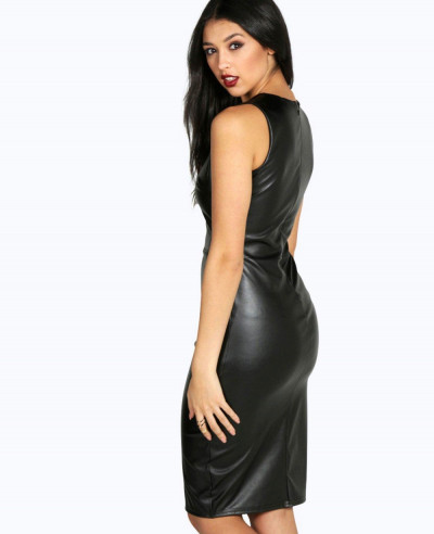 Black-Pu-Seam-Detail-Midi-Long-Leather-Dress