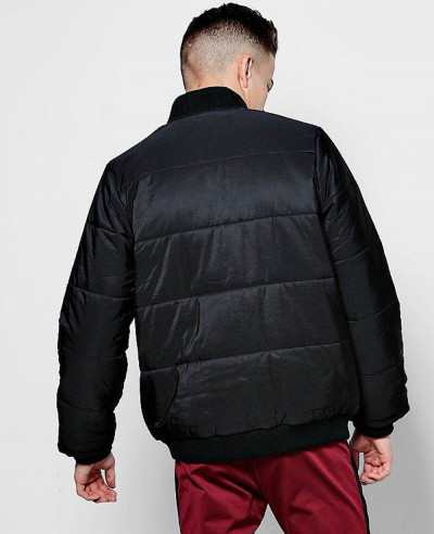 Black Quilted Jacket With Bomber Neck Varsity Jacket
