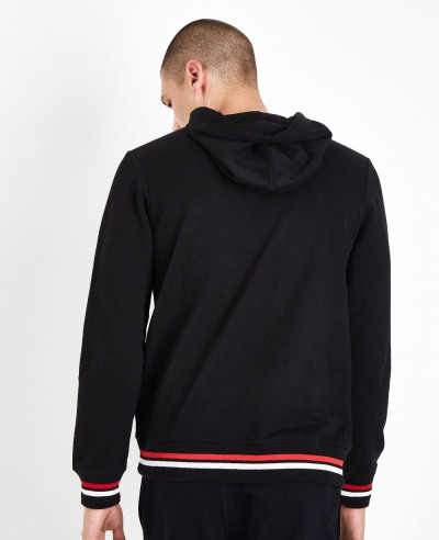 Black Stripe Hem Hooded Sweatshirt