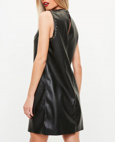 Black-Studded-Faux-Leather-Shift-Leather-Dress
