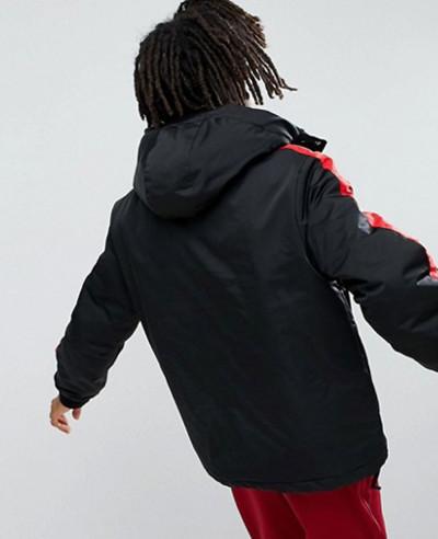 Black With Red Stripe Windbreaker Jacket
