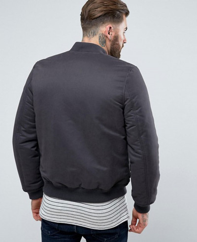 Bomber Jacket with Pocket Detail in Black