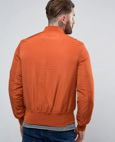Bomber Jacket with Pocket in Rust