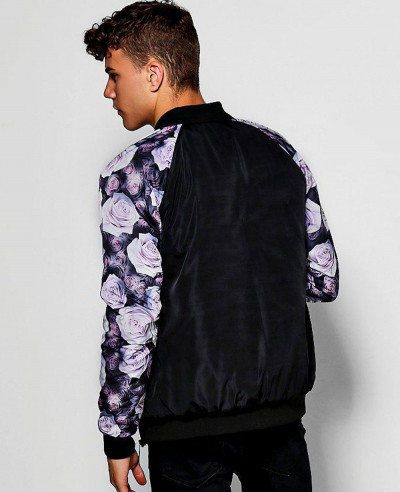 Bomber Jacket With Rose Raglan Sleeves