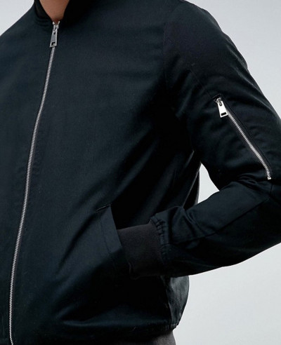 Bomber Jacket With Sleeve Zip In Black