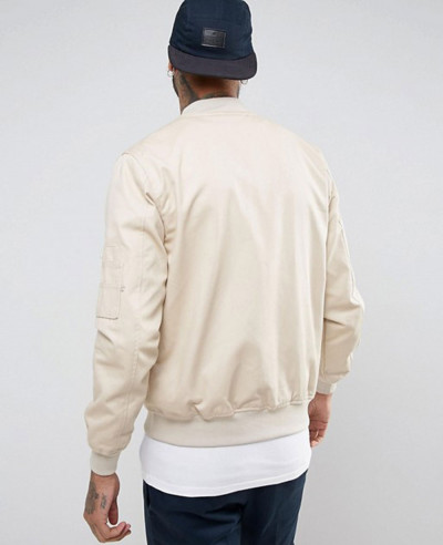 Bomber Jacket With Sleeve Zip in Stone