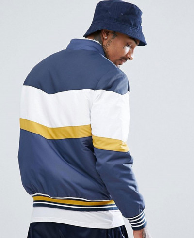 Borg Lined Track Jacket in Colour Block