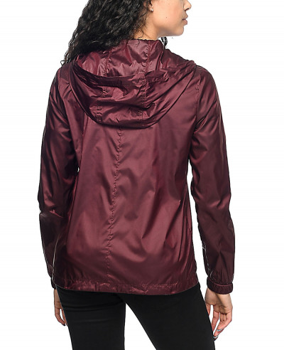 Burgundy-Full-Zipper-Windbreaker-Jacket