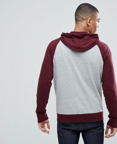 Burgundy Grey Full Zip Up Contrast Sleeve Stylish Hoodie