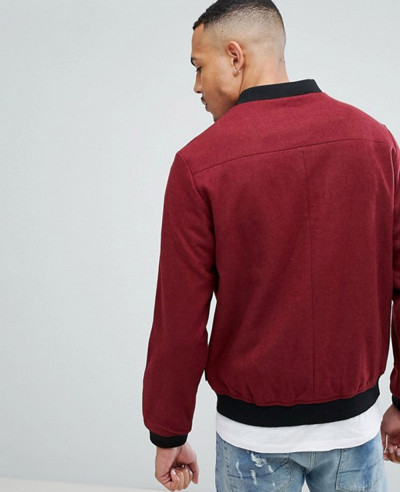 Burgundy Wool Bomber Jacket