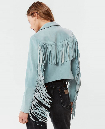 Child Fringe Suede Leather Jacket