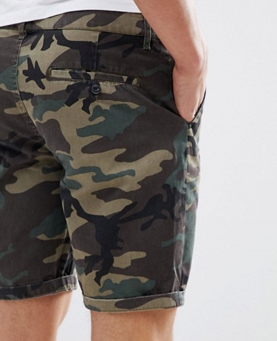 Chino Shorts With Camo Print