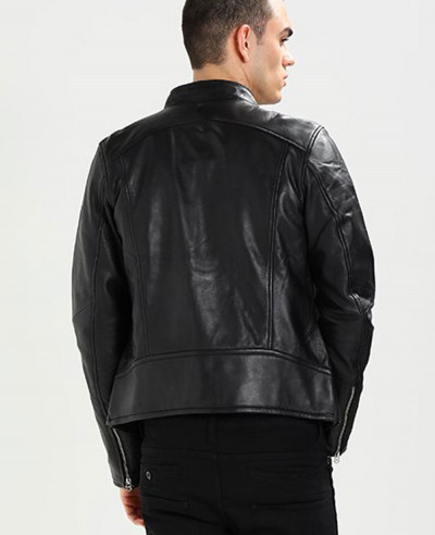 Classic Men Biker Real Leather Jacket